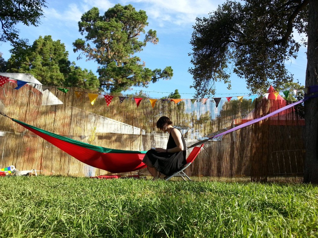 One of our guides, Ines, with a guest reclining in #hammocktime