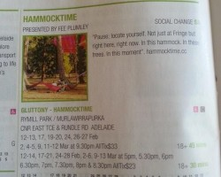 hammocktime in the Adelaide Fringe Guide